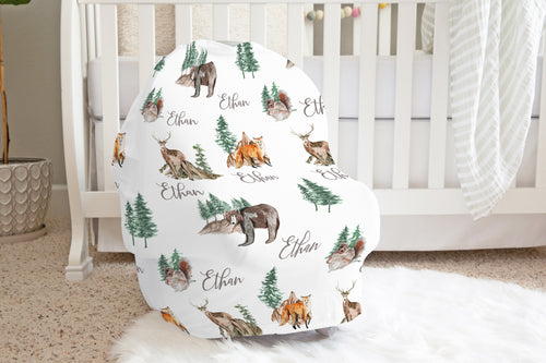 Woodland Personalized Car Seat Cover, Forest Nursing Cover - Little Explorer