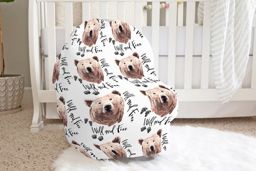 Bear Wild and Free Car Seat Cover, Woodland Nursing Cover - Grizzly Bear