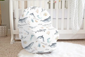 Personalized Under the Sea Car Seat Cover | Ocean Nursing Cover - Deep Ocean