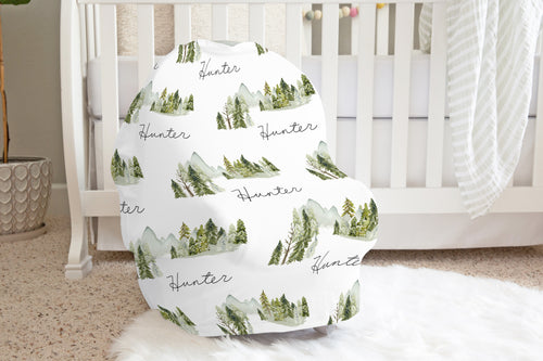 Mountains Personalized Car Seat Cover, Forest Nursing Cover - Wild Green