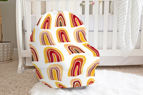 Ochre Rainbows Car Seat Cover, Rainbow Nursing Cover