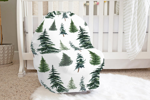 Pine Trees Car Seat Cover, Woodland Nursing Cover - The Forest