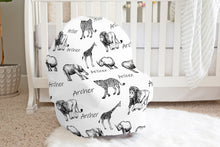Load image into Gallery viewer, Safari Personalized Car Seat Cover, Jungle Nursing Cover - Black Africa