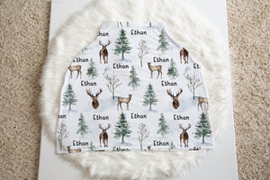Woodland Personalized Car Seat Cover, Forest Nursing Cover - Enchanted Forest