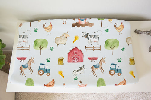 Logan's Farm Barn and Farm Animals Changing Pad Cover, Farm Nursery Decor