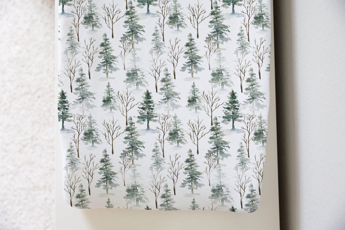 Pine Trees Changing Pad Cover. Forest Nursery Decor - Enchanted Forest