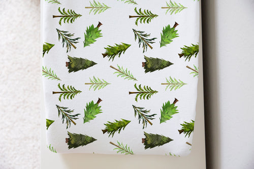 Pine Trees Changing Pad Cover, Forest Nursery - Into the Woods