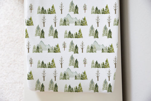 Pine Trees and Mountains Changing Pad Cover, Forest Nursery Decor- Wild Green