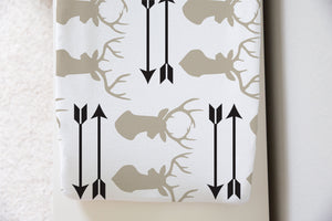 Vanilla Antler Changing Pad Cover, Woodland Nursery Decor