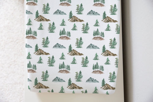 Mountains and Pine Trees Changing Pad Cover, Forest Nursery Decor - Little Explorer