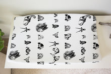 Load image into Gallery viewer, Black and White Safari Changing Pad Cover, Safari Nursery Decor - Black Africa