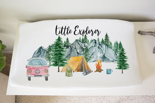 Camping Pink Caravan Changing Pad Cover, Camper Nursery - Little Explorer