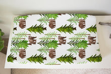 Load image into Gallery viewer, Pine trees and Bear Changing Pad Cover, Woodland Nursery - Into the Woods