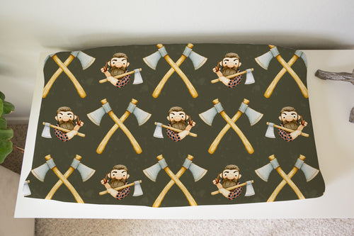 Jack Axes Changing Pad Cover, Lumberjack Nursery Bedding