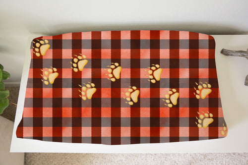 Jack Bear Foot Plaid Changing Pad Cover, Lumberjack Nursery Decor