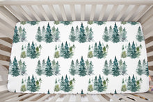 Load image into Gallery viewer, Pine Tress Crib Sheet, Forest Nursery Bedding - Majestic Forest