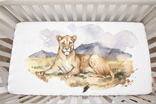 Load image into Gallery viewer, Lion Minky Crib Sheet, Safari Nursery Bedding - Africa Encounter