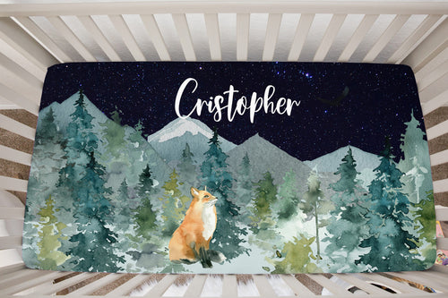 Majestic Forest Fox Dark Blue Sky Personalized Crib Sheet, Forest Nursery Bedding