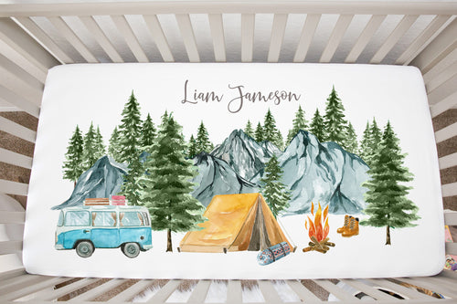 Personalized Adventure Crib Sheet, Camping Nursery Bedding - Little Explorer