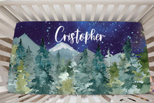 Load image into Gallery viewer, Dark Blue Sky Forest Personalized Minky Crib Sheet, Wilderness Nursery Bedding - Majestic Forest
