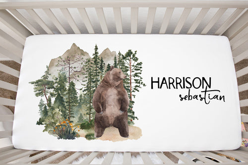 Bear Personalized Crib Sheet, Woodland Nursery Bedding - Forest Mist