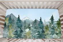 Load image into Gallery viewer, Blue Sky Forest Minky Crib Sheet, Forest Nursery Bedding - Majestic Forest