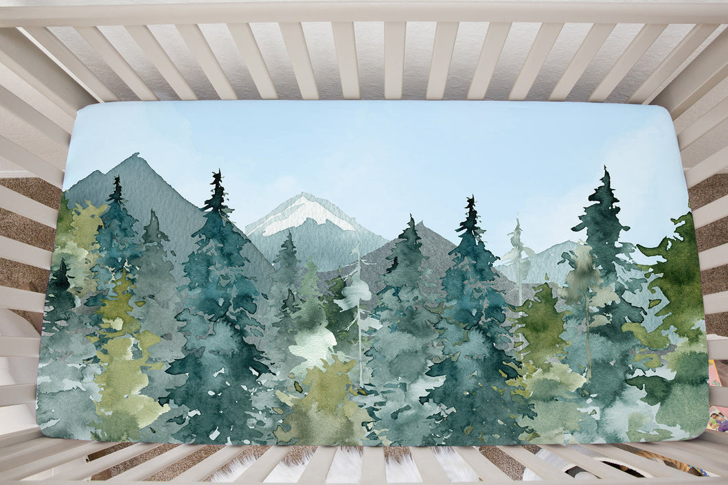Blue Sky Forest Minky Crib Sheet, Forest Nursery Bedding - Majestic Forest