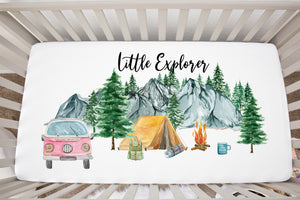 Camping Pink Van Minky Crib Sheet, Woodland Nursery Bedding - Little Explorer