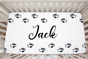 Personalized Deer Tracks Crib Sheet, Woodland Nursery Bedding - Animal Tracks