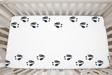 Load image into Gallery viewer, Deer Tracks Crib Sheet, Woodland Nursery Bedding