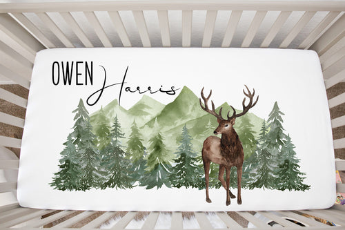 Deer Personalized Crib Sheet, Woodland Nursery Bedding - Enchanted Green