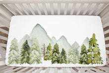 Load image into Gallery viewer, Forest and Mountains Crib Sheet, Woodland Nursery Bedding - Wild Green