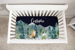 Fox Dark Blue Sky Personalized Crib Sheet, Forest Nursery Bedding -Majestic Forest