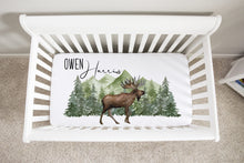Load image into Gallery viewer, Moose Personalized Crib Sheet, Woodland Nursery Bedding - Enchanted Green