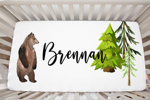 Into The Woods Bear Personalized Crib Sheet, Forest Nursery Bedding