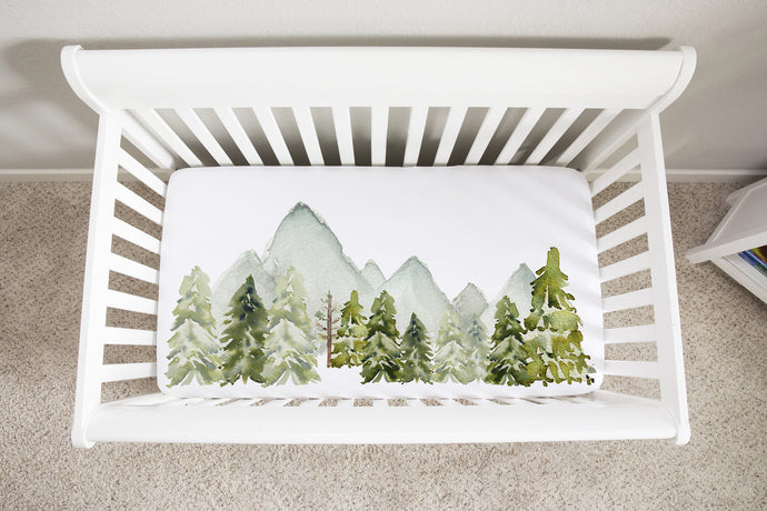 Forest and Mountains Crib Sheet, Woodland Nursery Bedding - Wild Green