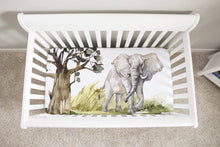 Load image into Gallery viewer, Elephant Minky Crib Sheet, Safari Nursery Bedding-Africa Encounter