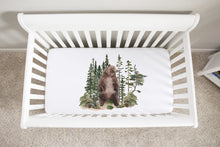 Load image into Gallery viewer, Bear Crib Sheet, Woodland Nursery Bedding - Forest Mist