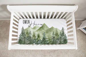 Forest Personalized Crib Sheet, Woodland Nursery Bedding - Enchanted Green