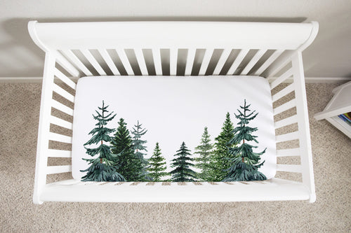 Pine Trees Minky Crib Sheet, Forest Nursery Bedding - The Forest
