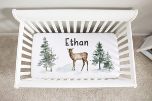 Personalized Deer Crib Sheet, Woodland Nursery Bedding - Enchanted Forest