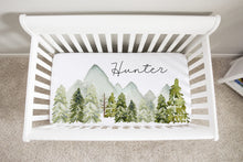 Load image into Gallery viewer, Forest Personalized Crib Sheet, Woodland Nursery Bedding - Wild Green