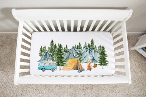 Camping Crib Sheet, Adventure Nursery Bedding - Little Explorer