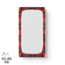 Load image into Gallery viewer, Red and Black Plaid Crib Sheet, Lumberjack Nursery Decor