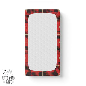 Red and Black Plaid Crib Sheet, Lumberjack Nursery Decor