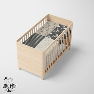 Antler Patchwork Arrows Crib Sheet, Rustic Baby Bedding