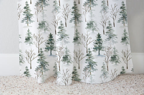 Pine Tree Curtain Single Panel, Forest Nursery Decor - Enchanted Forest
