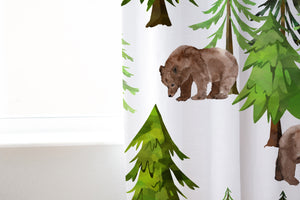 Bear and Pine Trees Curtain Single Panel, Forest Nursery Decor - Into The Woods