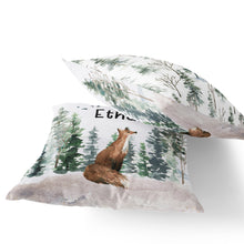 Load image into Gallery viewer, Fox Personalized Pillow, Woodland Nursery Decor - Enchanted Forest