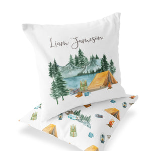 Camping Nursery Bedding Set - Camper Crib Sheet, Blanket and Pillow - Little Explorer
